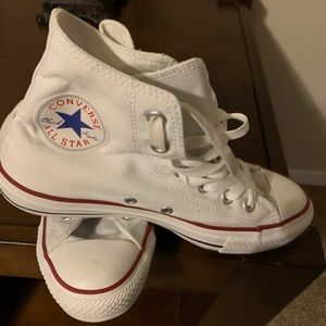 Gently worn white high top Converse